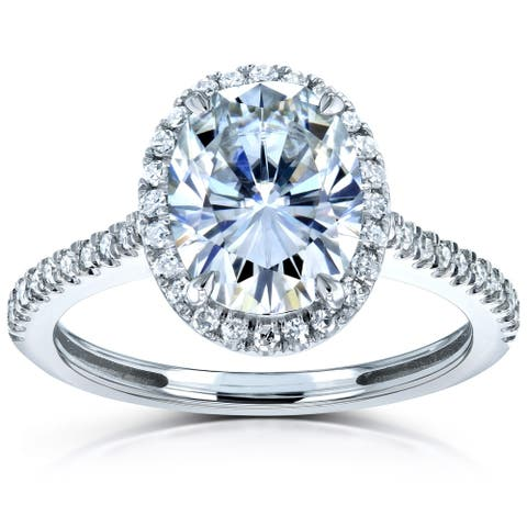 Annello by Kobelli 14k Gold 2ct Moissanite 1/4ct Diamond Oval Halo Engagement Ring