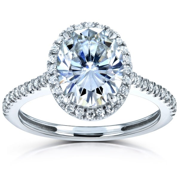 Annello by Kobelli 14k Gold 2-1/4ct TGW Moissanite and Diamond Oval Halo Engagement Ring (HI/VS, GH/I). Opens flyout.