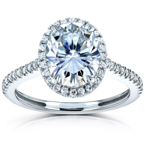 Annello by Kobelli 14k Gold 2 1/4ct TGW Moissanite and Diamond Oval Halo Engagement Ring (HI/VS, GH/I)