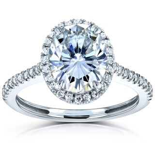 Annello by Kobelli 14k Gold 2-1/4ct TGW Moissanite and Diamond Oval Halo Engagement Ring (HI/VS, GH/I)