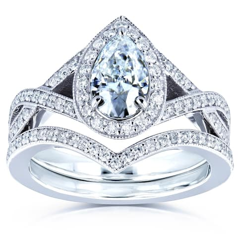 Annello by Kobelli 14k Gold 1 1/2ct TGW Forever One Moissanite and Diamond Pear Halo Bridal Rings Set (DEF/VS, GH/I)