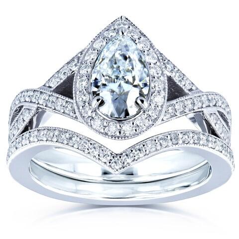 Annello by Kobelli 14k Gold 1 1/2ct TGW Moissanite and Diamond Pear Halo Bridal Rings Set (FG/VS, GH/I)