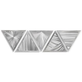 Helena Martin 'Linear Angles' 53in x 13in Modern Metal Art on Ground Metal - Silver