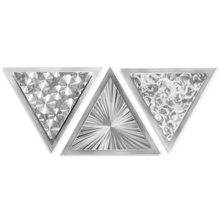 Helena Martin 'Motion Angles' 34in x 13in Modern Metal Art on Ground Metal - Silver