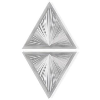 Helena Martin 'Shining Diamond' 15in x 28in Modern Metal Art on Ground Metal - Silver
