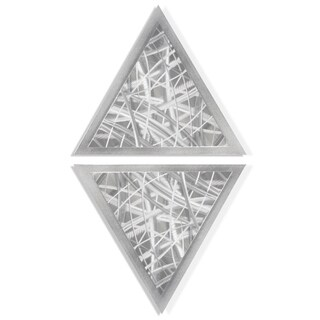 Helena Martin 'Thatched Diamond' 15in x 28in Modern Metal Art on Ground Metal - Silver