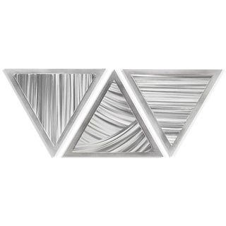 Helena Martin 'Sweeping Angles' 34in x 13in Modern Metal Art on Ground Metal - Silver