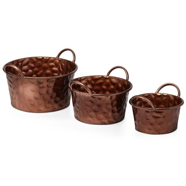 Ornately Designed Wrought Iron Round Planters, Copper (Set of 3)
