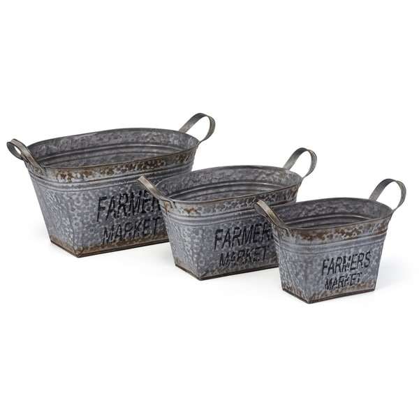 Garden Perfect Galvanized Sheet Antique Oval Planters, Gray (Set of 3)