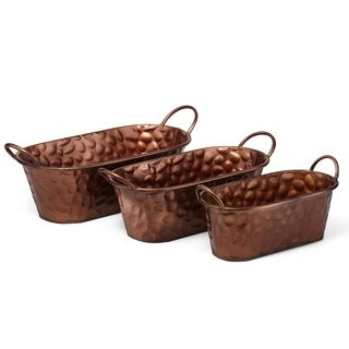 Distinctively Styled Wrought Iron Oval Planters, Copper (Set of 3)