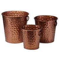Eye-Catching Wrought Iron Round Planters, Copper (Set of 3)