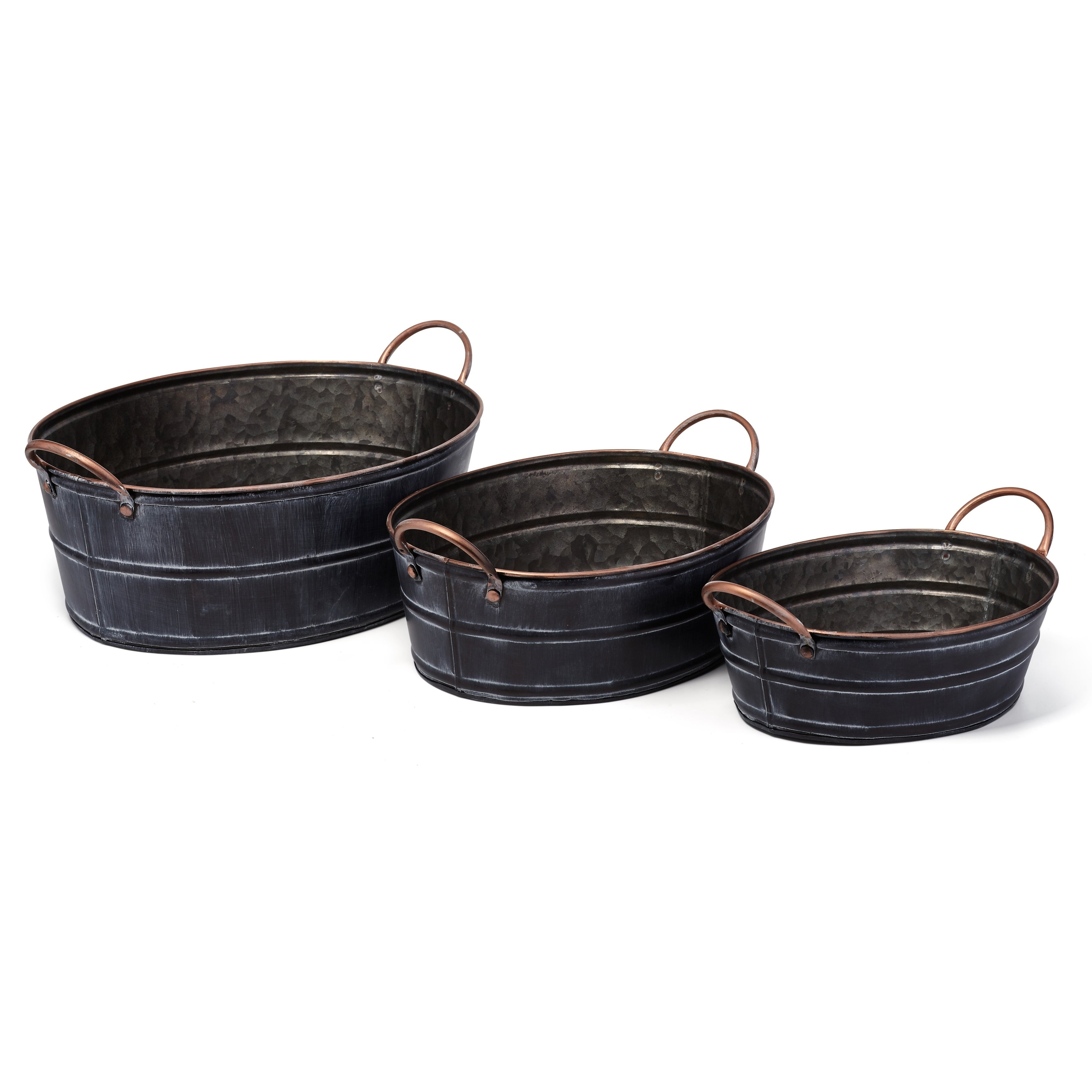 Distressed Accent Wrought Iron Planters Black Set Of 3
