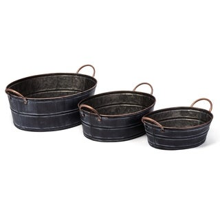 Distressed Accent Wrought Iron Planters, Black (Set of 3)