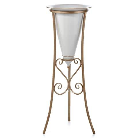 Decorative Stand & Planter, White & Gold