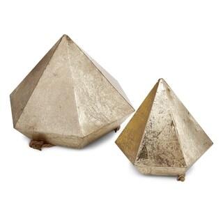 Metal & Rope, Diamond Hanging Planters-Set of 2, Gold