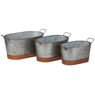 Irresistible Washed Oval Planters With Copper Rims , Gray (Set Of 3)