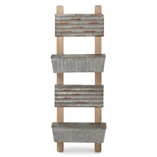 Galvanized Metal & Wood Ladder Planters In Brown And Gray