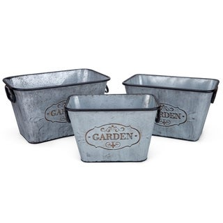 Metal Based Galvanized Rectangular Planters with handles Set of 3 Silver