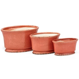 Stunning Ceramic Nested Oval Planters, Orange (Set Of 3)