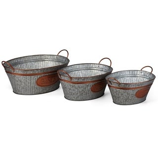 Delightful Gray Washed Oval Planters With Copper Rims, (Set Of 3)