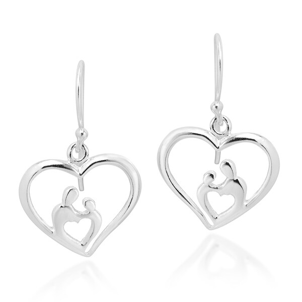 Handmade Beautiful Bond Mother Child Sterling Silver Heart Dangle Earrings Thailand