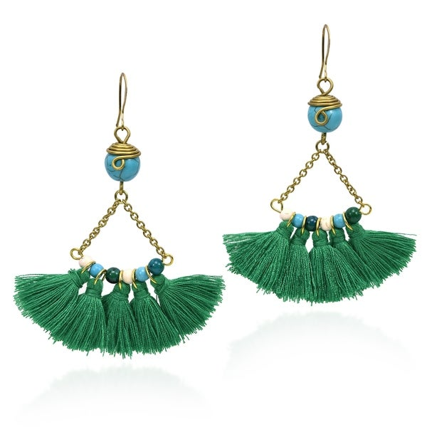 Handmade Boho Green Tassel Turquoise Beaded Dangle Statement Earrings (Thailand). Opens flyout.