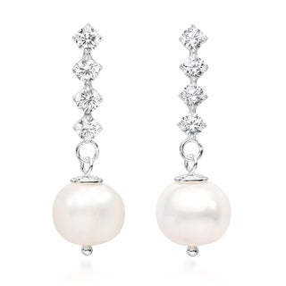 Handmade Classy Freshwater Pearl Cubic Zirconia Stick Sterling Silver Post Drop Earrings (Thailand)