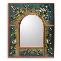 Cuzco Garden Wood And Reverse Painted Glass Wall Mirror - Peru