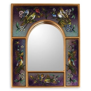Wine Blossom Fiesta Reverse Painted Glass Mirror - Peru - Multi/Purple