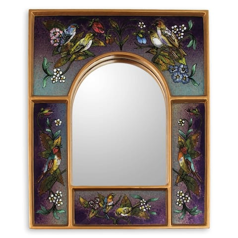 Handmade Wine Blossom Fiesta Reverse Painted Glass Mirror (Peru)