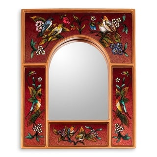 Songbirds On Teal Reverse Painted Glass Mirror - Peru - Red