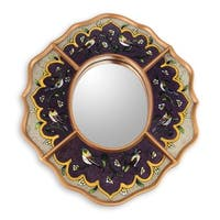 Handmade Songbirds On Amethyst Reverse Painted Glass Mirror  (Peru) - Antique Gold/Purple