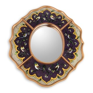 Handmade Songbirds On Amethyst Reverse Painted Glass Mirror (Peru) - Antique Gold/Purple - N/A