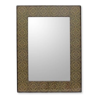 Handmade Classic Floral Decoupage Mirror (India) - Yellow