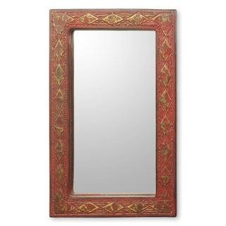 Handmade Golden Moradabad Glass Mosaic Mirror (India) - Red