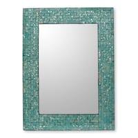 Aqua Cosmos Glass Mosaic Wall Mirror - India