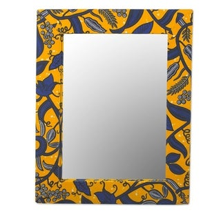 Batik Cotton and Wood Wall Mirror - Yellow
