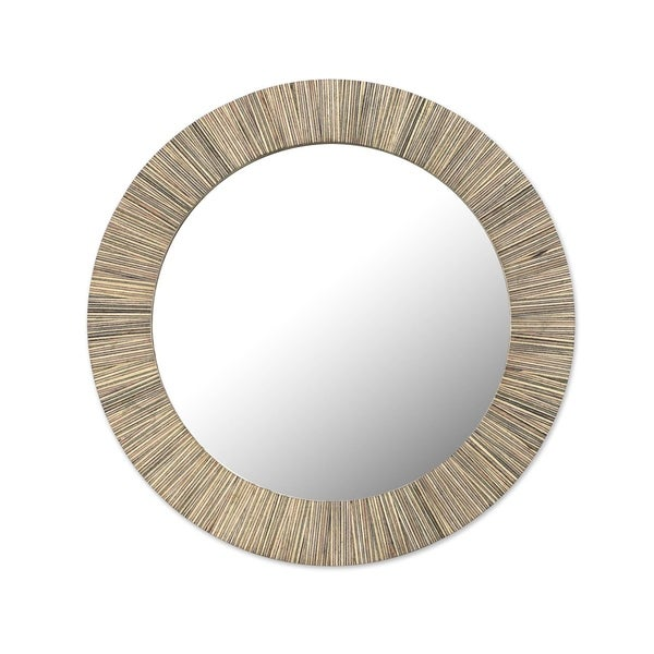 Ohemaa Sese Wood, Clay, Glass Wood Wall Mirror - Ghana - Antique Brown/beige