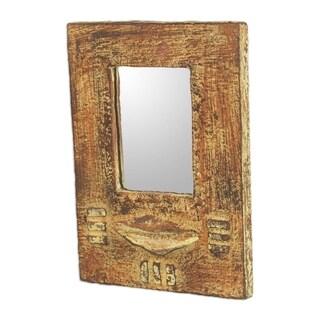 Handmade Cape Coast Night Sese Wood, Clay, Glass Wall Mirror (Ghana) - Brown
