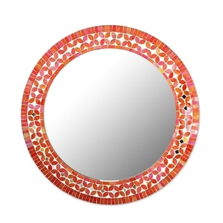 Shimmering Blossoms Round Mosaic Multicolor Wall Mirror from India - Orange