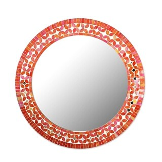 Handmade Lapis Vines Cotton And Wood Wall Mirror (Ghana) - Orange/Pink/Red - N/A