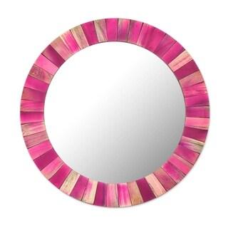 "Handmade Antique Scarlet Sese Wood, Brass, Clay, Glass Wall Mirror (Ghana) - Pink - 13.75"" x 13.75"""