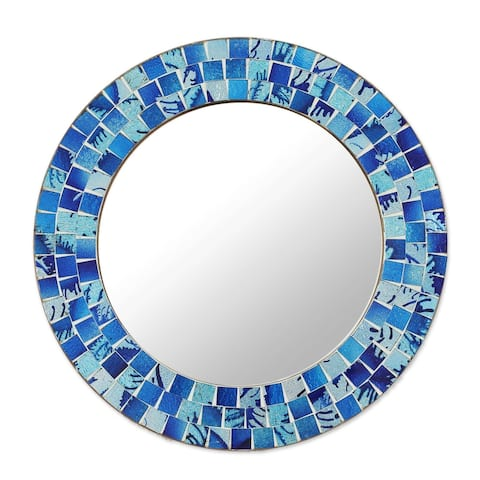 Handmade Tropical Ocean Glass Mosaic Round Wall Mirror (India)