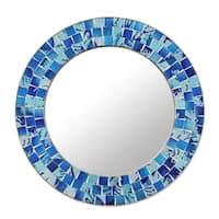 Handmade Tropical Ocean Glass Mosaic Round Wall Mirror  (India) - Blue