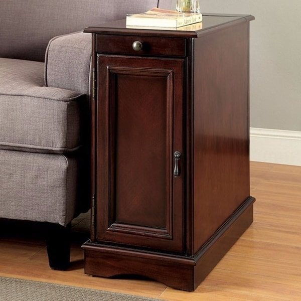 Shop Highly Functional Sleek Transitional Side Table With USB, Cherry    Free Shipping Today   Overstock   21465303