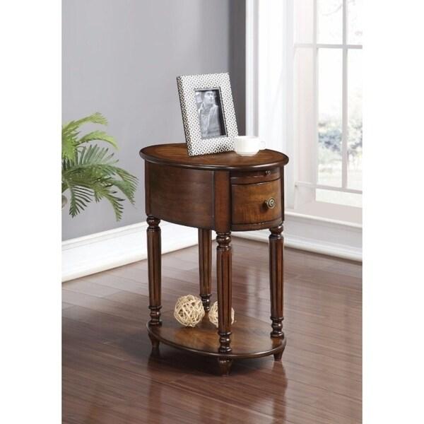 Alluring Side Table, Dark Oak Brown