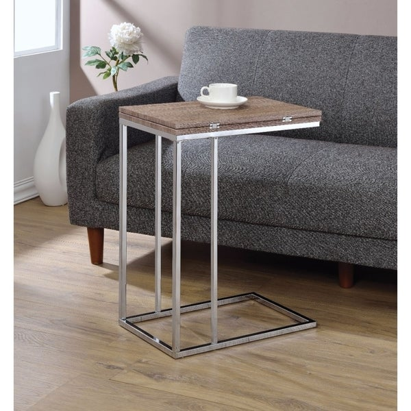 Vogue Side Table, Weathered Oak & Chrome