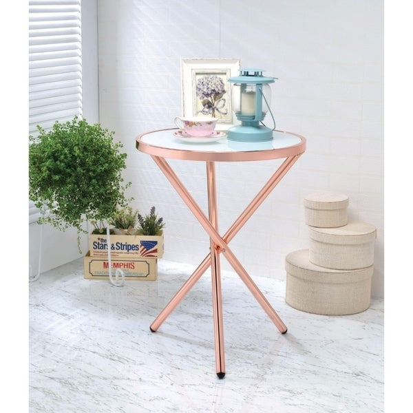 Alluring Side Table, Frosted Glass & Copper