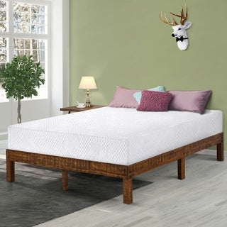 Sleeplanner 14 inch Solid Wood Platform Bed / Natural Finish Queen Size