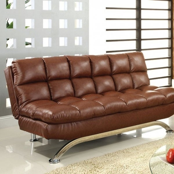 Leatherette Upholstered Contemporary Sofa With Metal Base, Saddle Brown